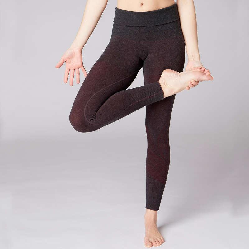 WOMAN YOGA APPAREL - Women's Seamless Gentle Yoga Leggings - Black/Burgundy DOMYOS