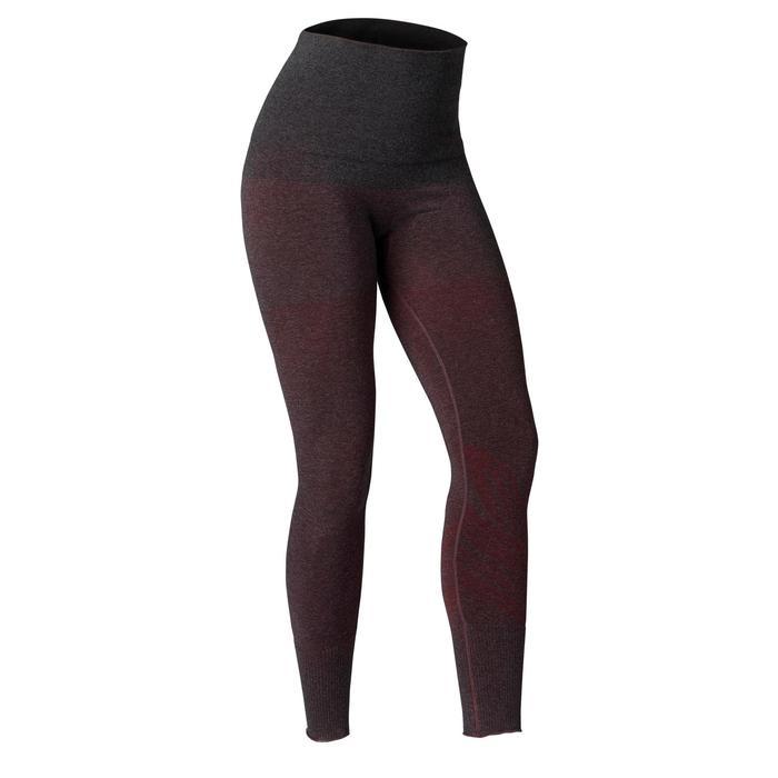 Legging YOGA DOUX sans couture femme bordeaux chiné - 1419240