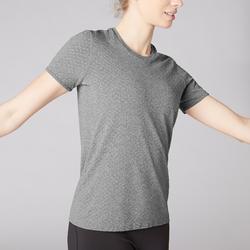 Naadloos yoga T-shirt voor dames gemêleerd grijs