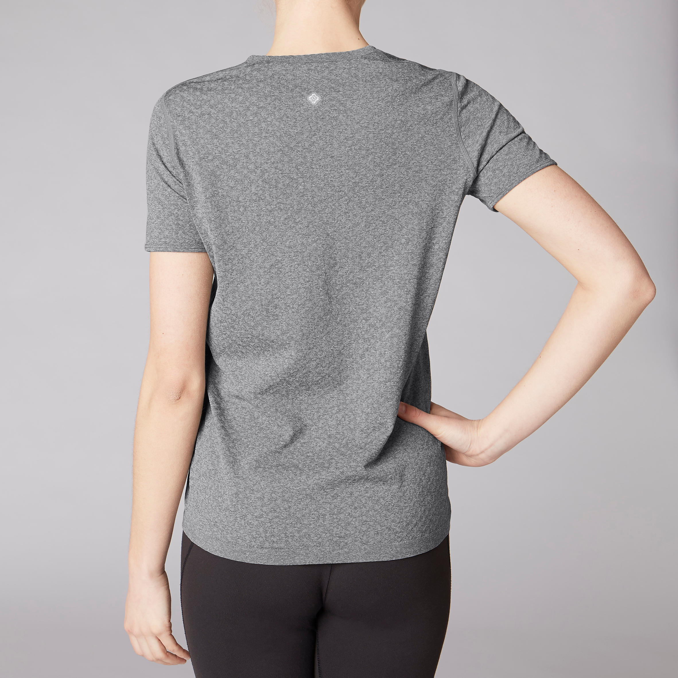 Shirt Coutures Chiné Tee Sans Yoga Gris Femme 534qjARL