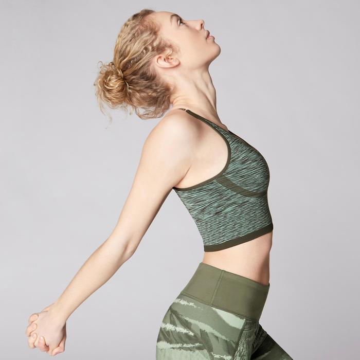 Omkeerbaar naadloos yogatopje voor dames kaki