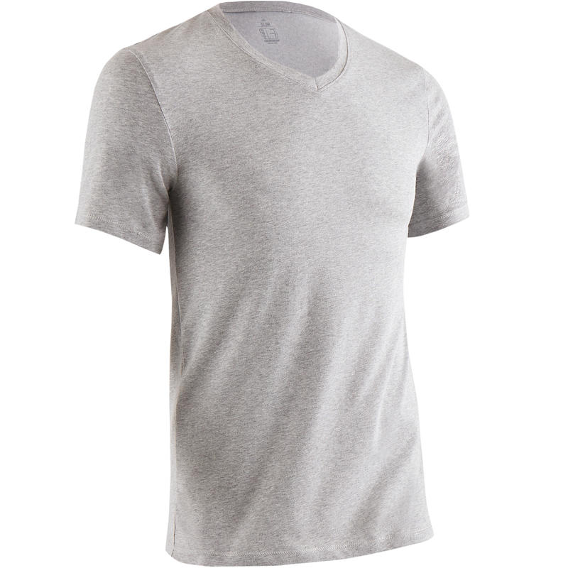 500 V-Neck Slim-Fit Gym & Pilates T-Shirt - Mottled Medium Grey