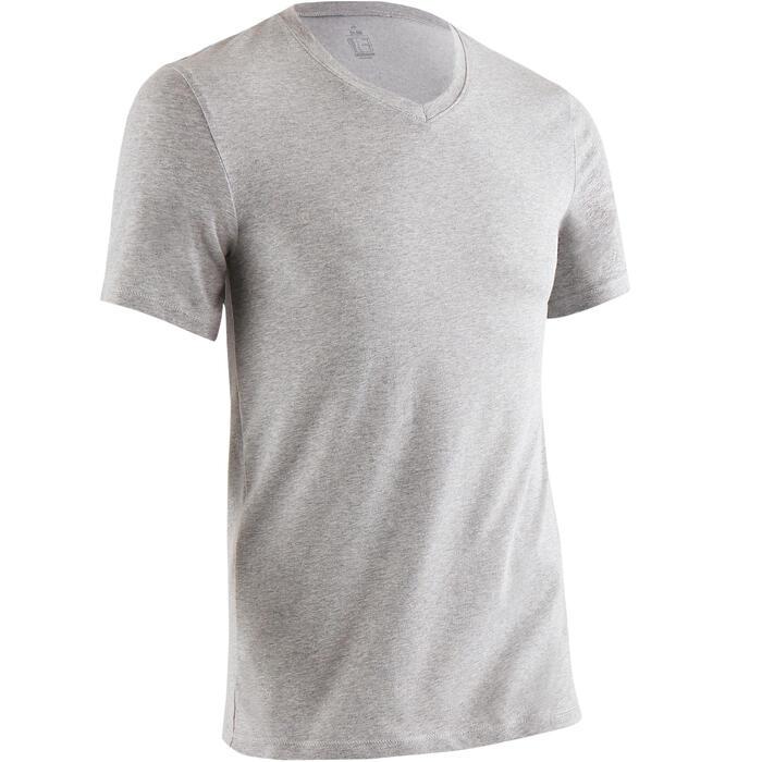 T-Shirt Gym 500 Slim Fitness Herren mittelgraumeliert