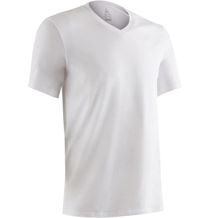 T-shirt 500 col V slim Gym Stretching homme - 1419258