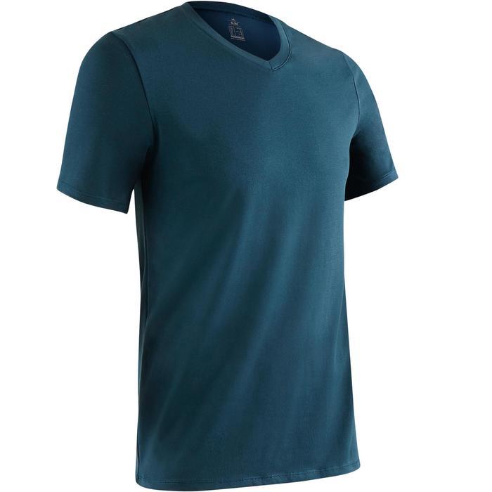 T-shirt 500 col V slim Gym Stretching homme - 1419259