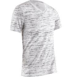 T-shirt 500 V-hals slim fit pilates en lichte gym heren wit AOP