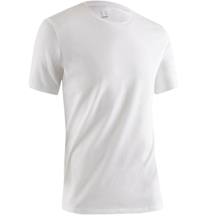 T-Shirt 500 Regular Gym Stretching Herren weiß