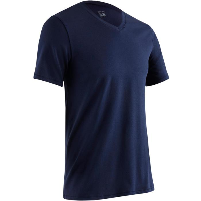 Camiseta Manga Corta Gimnasia Pilates Domyos 500 Cuello Pico Hombre Azul