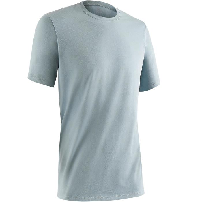Camiseta 500 regular manga corta gimnasia y pilates hombre azul gris