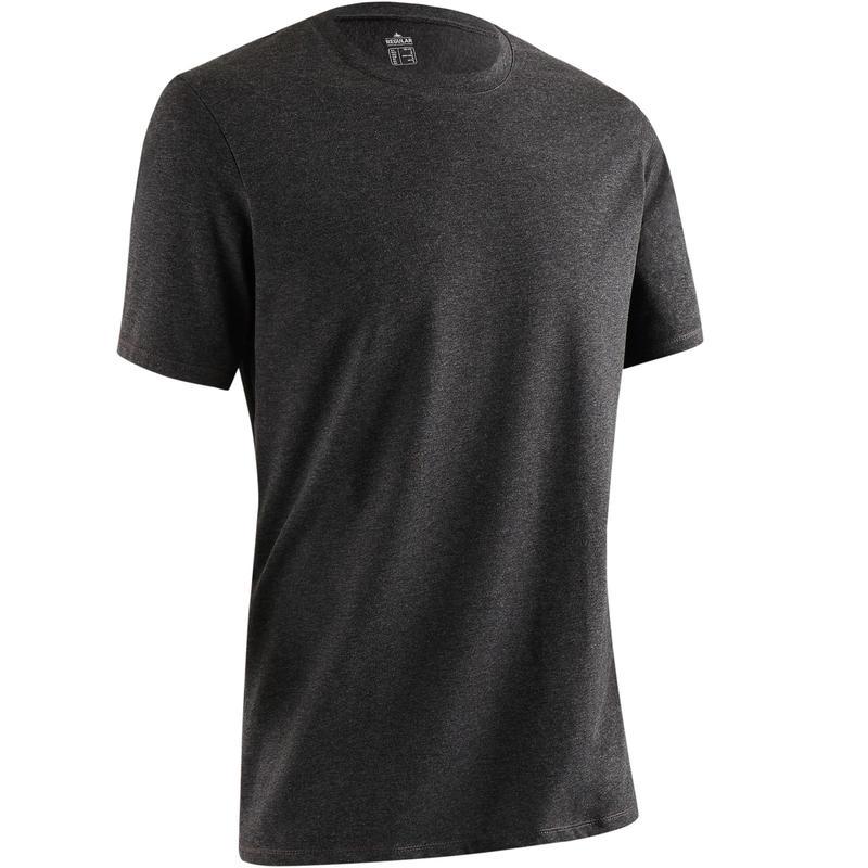 500 Regular-Fit Gentle Exercise & Pilates T-Shirt - Dark Grey