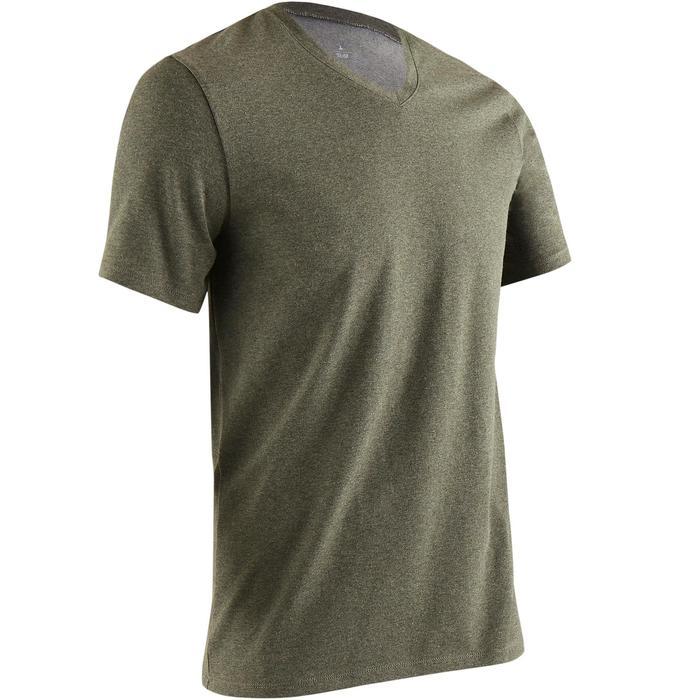 Camiseta 500 cuello de pico slim gimnasia Stretching hombre caqui jaspeado