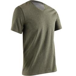 T-shirt 500 V-hals slim fit gym en stretching heren gemêleerd kaki