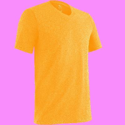500 חולצת T צווארון V לכושר ולפילאטיס בגזרה צרה- גווני אפור כהה