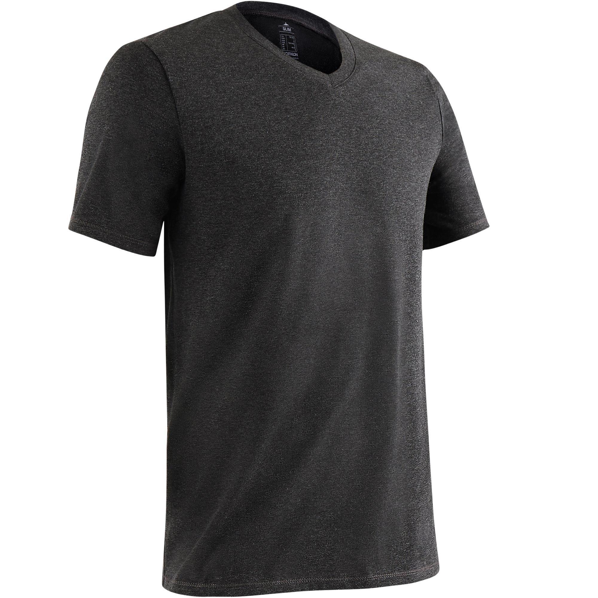 Domyos T-shirt 500 V-hals slim fit pilates en lichte gym heren kopen