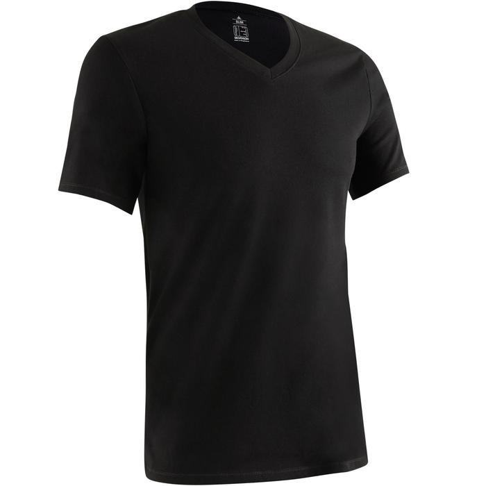 T-shirt 500 col V slim Gym Stretching homme - 1419272