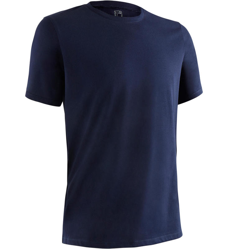 500 Regular-Fit Pilates & Gentle Gym T-Shirt - Navy Blue