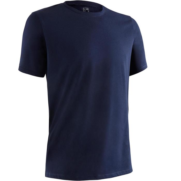 T-Shirt 500 Regular Pilates sanfte Gym Herren marineblau