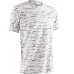 Camiseta 500 regular manga corta hombre gimnasia y pilates blanco jaspeado
