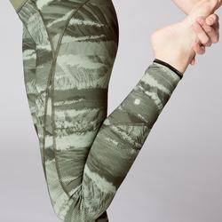 Mallas Leggings Deportivos Yoga Domyos 920 Slim Reversible Mujer Caqui/Gris
