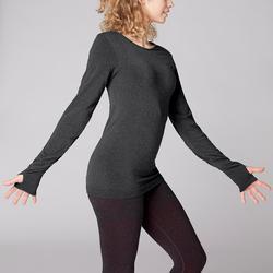 Langarmshirt Yoga Damen dunkelgrau