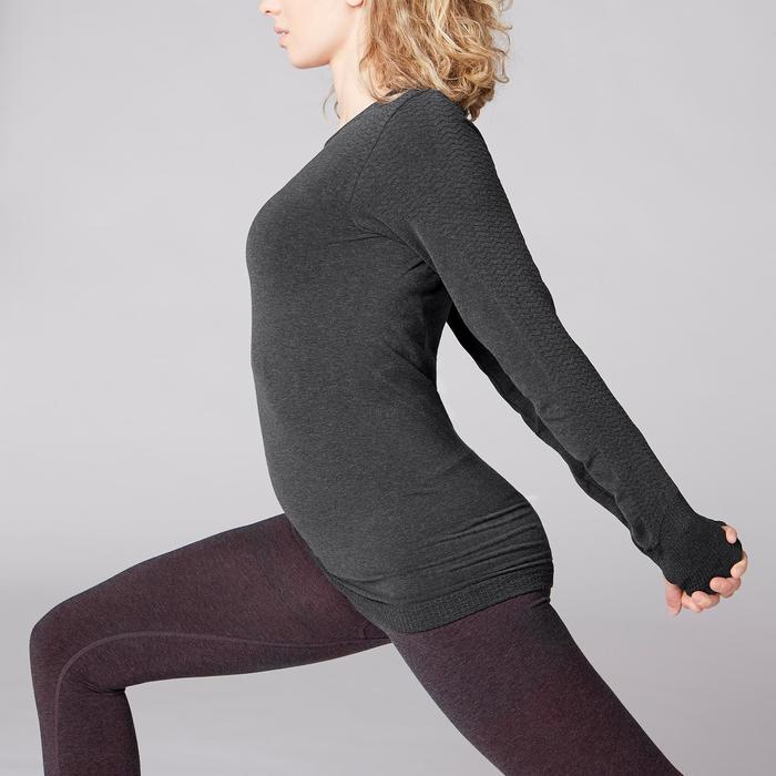 Camiseta Manga Larga Yoga Domyos 500 Sin Costuras Mujer Gris Oscuro