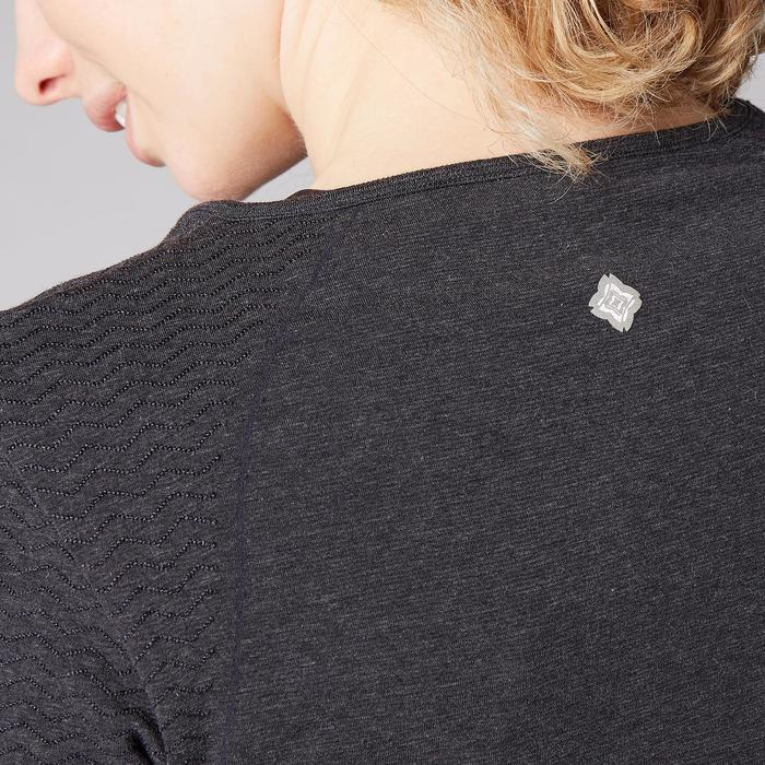 T-shirt gris foncé à longues manches, sans coutures, pour yoga doux