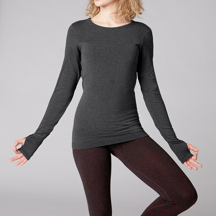 Dames T-shirt met lange mouwen voor zachte yoga gemêleerd donkergrijs