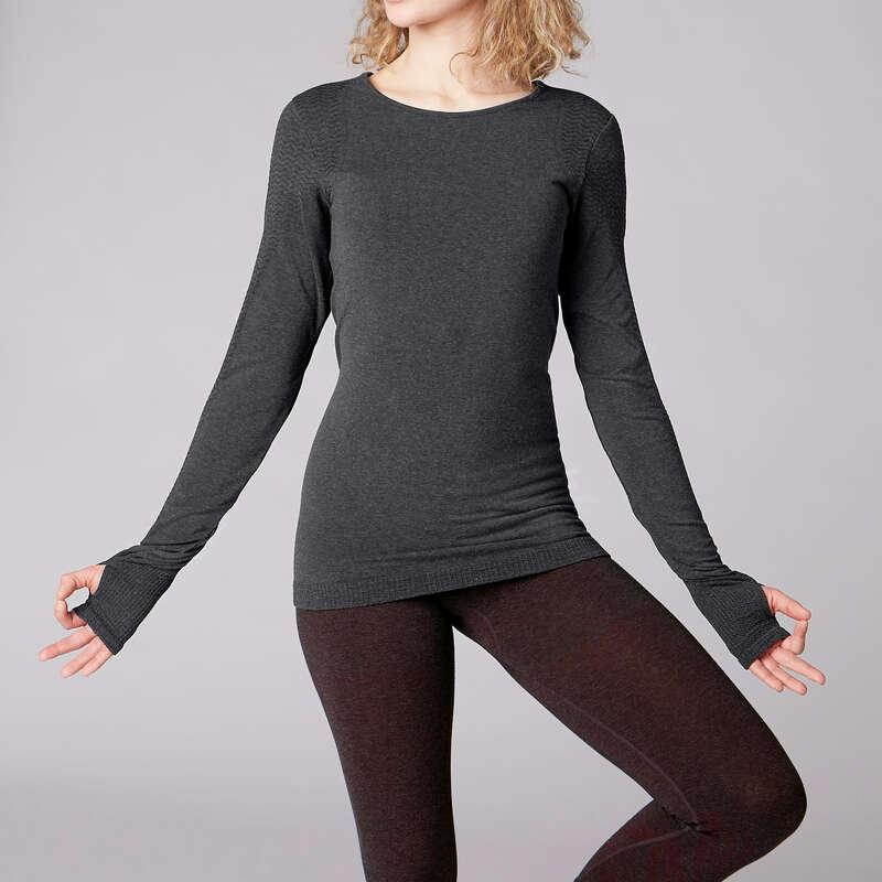WOMAN YOGA APPAREL - Long-Sleeved Yoga T-Shirt DOMYOS