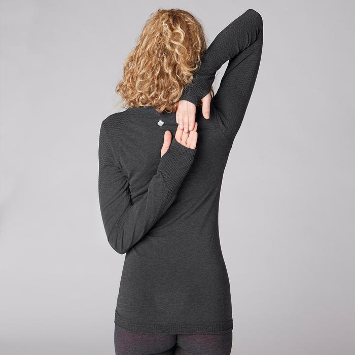 Naadloos shirt met lange mouwen voor zachte yoga donkergrijs