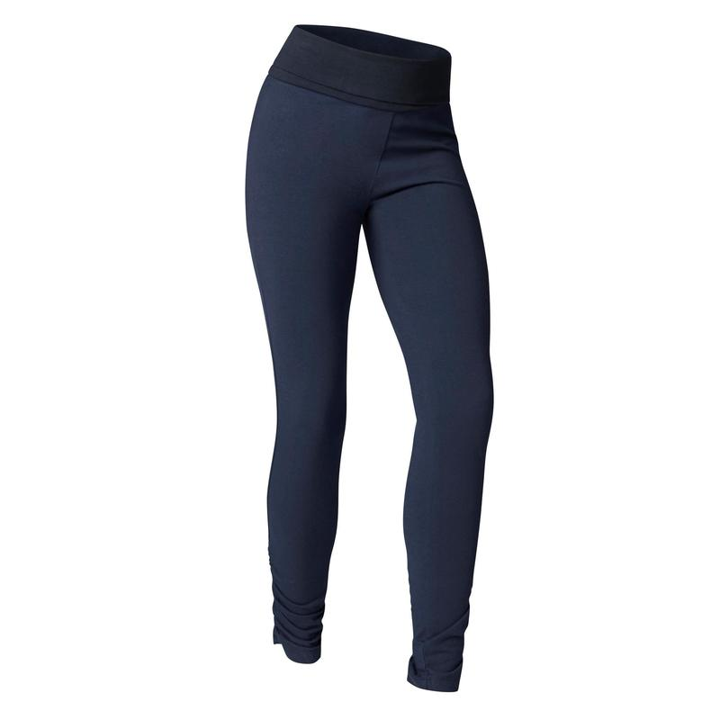 b63ec6c721370 Women's Organic Cotton Gentle Yoga Leggings - Navy Blue | Domyos by ...