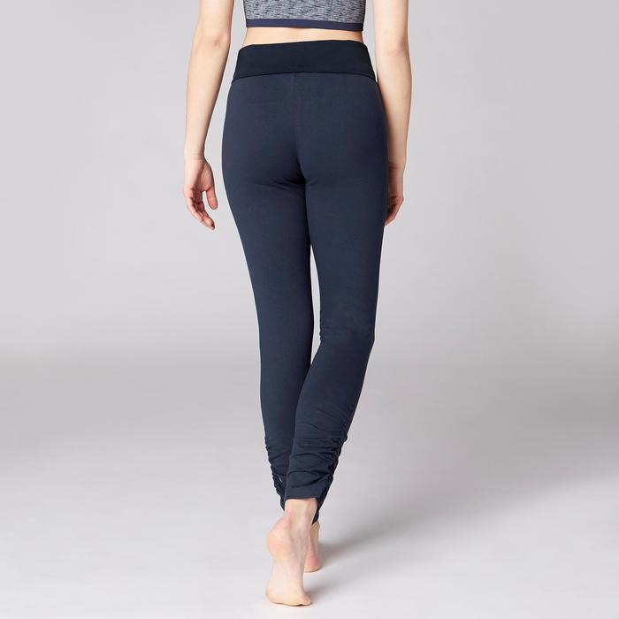 Legging yoga femme coton issu de l'agriculture biologique noir / gris chiné - 1419301