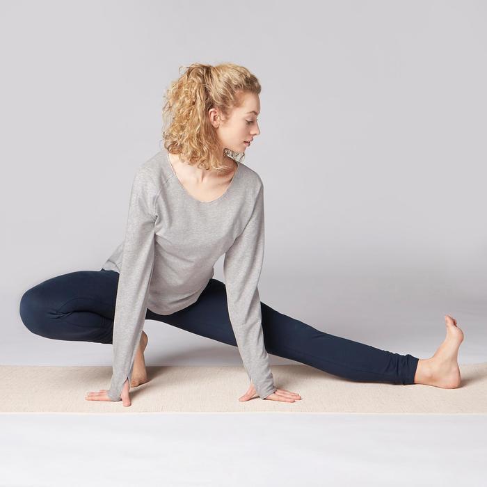 Legging yoga femme coton issu de l'agriculture biologique noir / gris chiné - 1419302