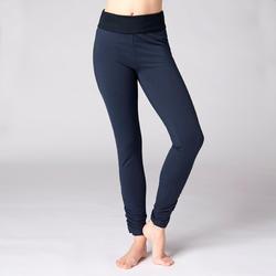 Mallas Deportivas Pantalones Premamá Yoga Domyos 100 Slim Algodón Bio Mujer azul
