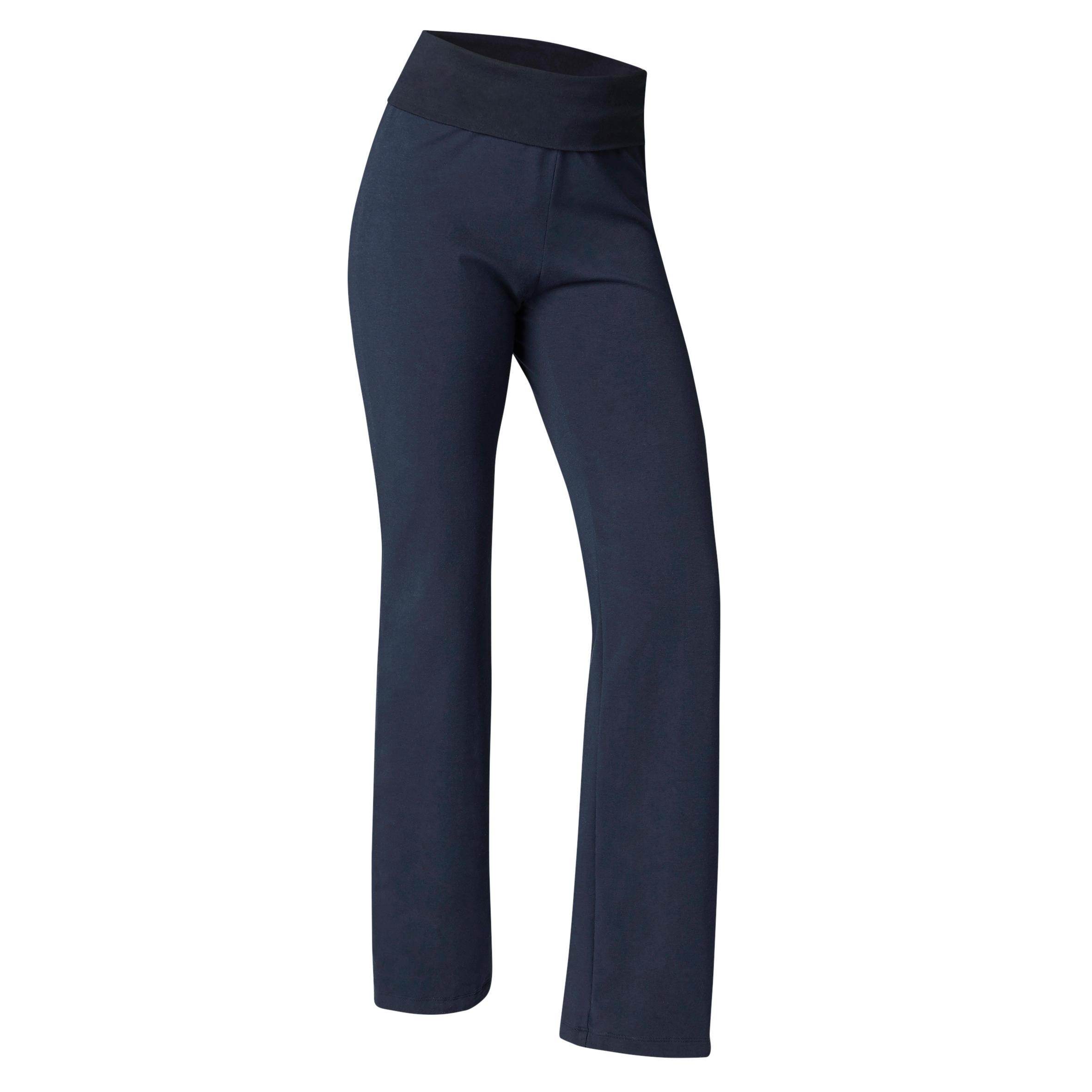 Yogahose sanftes Yoga aus Baumwolle aus biologischem Anbau Damen marineblau | Sportbekleidung > Sporthosen > Yogahosen | Blau | Baumwolle | Domyos