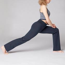 Broek voor zachte yoga dames biologisch katoen marineblauw