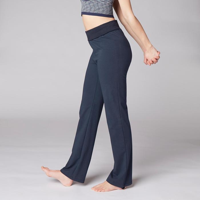 女款舒緩瑜珈有機棉長褲 - 海軍藍