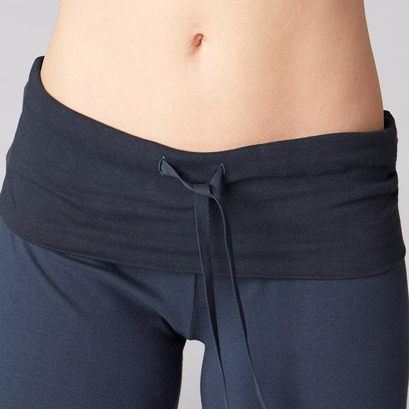 Women's Organic Cotton Gentle Yoga Cropped Bottoms - Navy Blue
