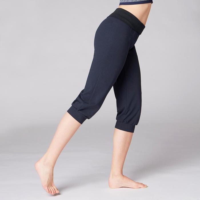 Dameskuitbroek in biokatoen voor zachte yoga marineblauw