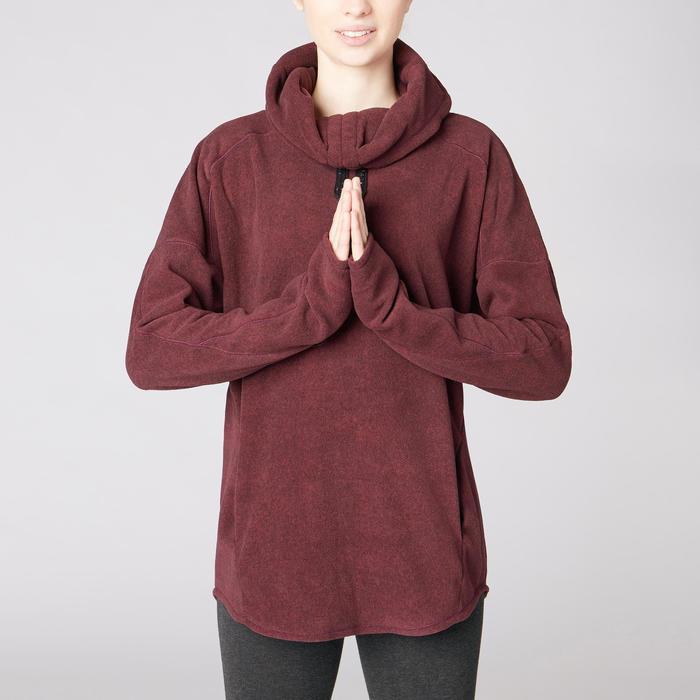 Damessweater voor relaxatie bij yoga microfleece bordeaux