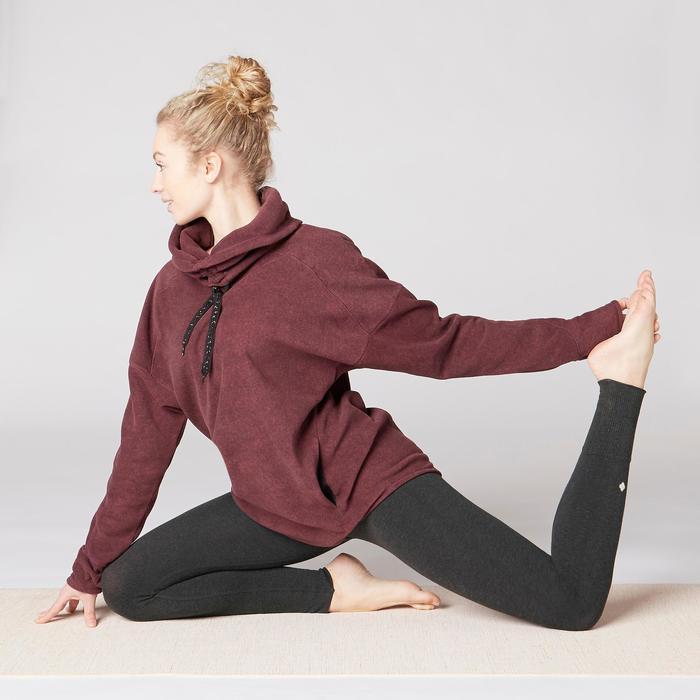 Sudadera Relajación Polar Yoga Domyos 100 Mujer Burdeos