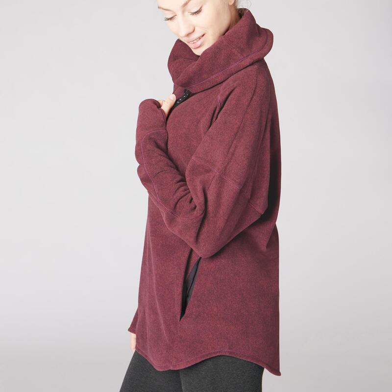 Yogasweater voor de relaxatie voor dames gemêleerd bordeaux