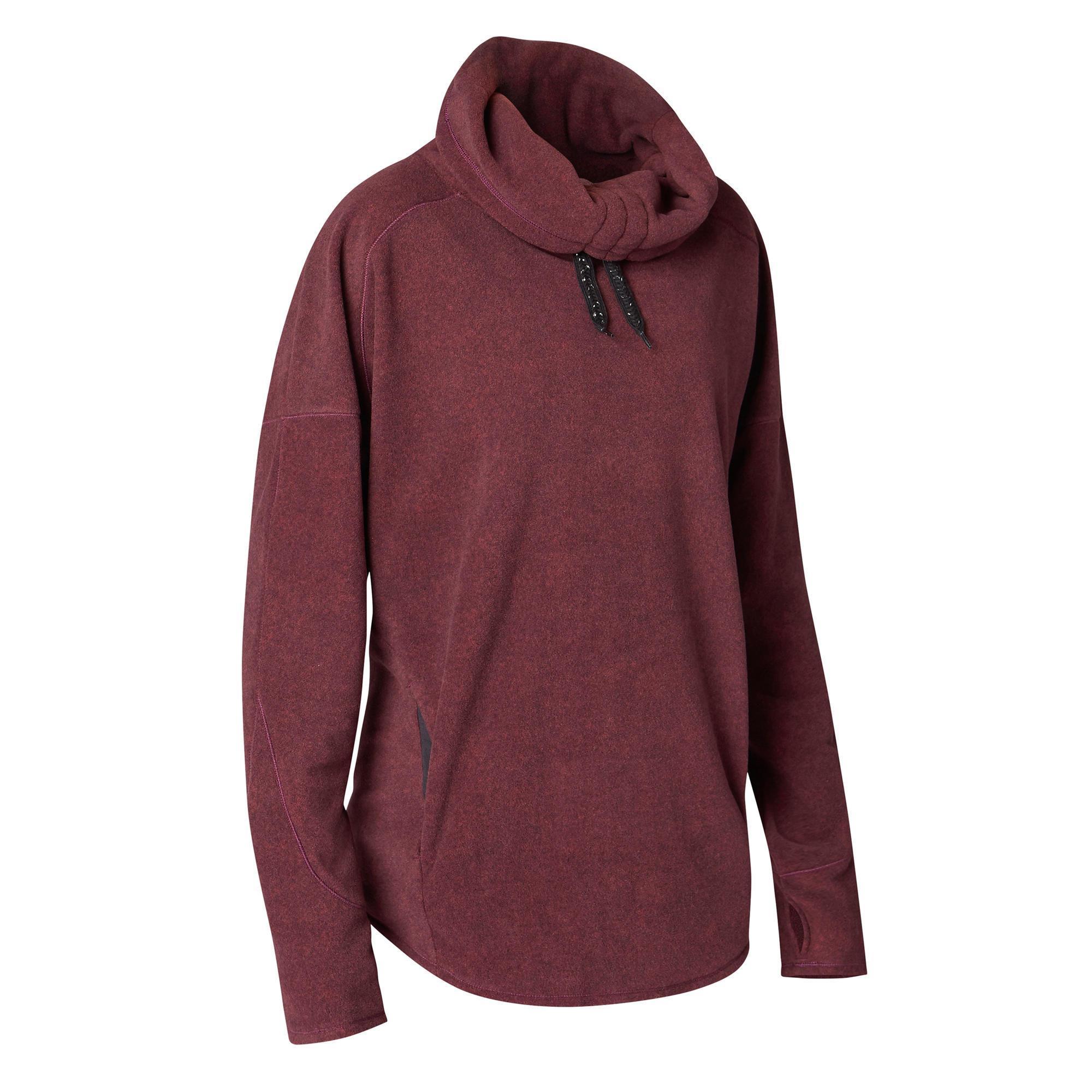 Relax-Sweatshirt Yoga Damen bordeauxmeliert | Sportbekleidung > Fleecepullover | Domyos