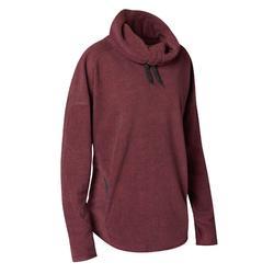 女款高透氣微纖維絨毛放鬆瑜珈汗衫 - 暗紅色