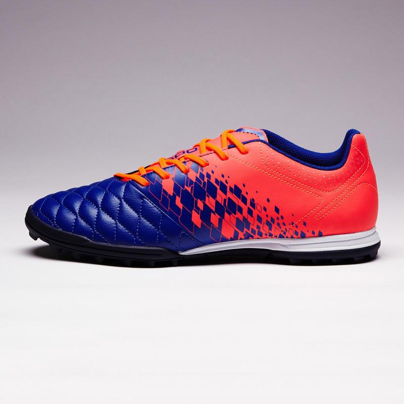 Zapatillas de fútbol adulto terrenos duros Agility 500 HG azul y naranja