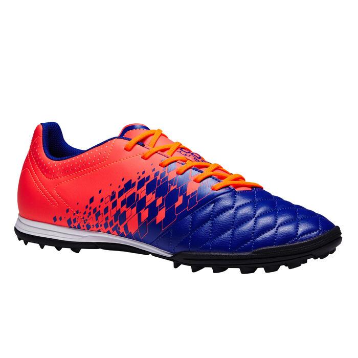 Botas de Fútbol adulto Kipsta Agility 500 HG turf azul y naranja