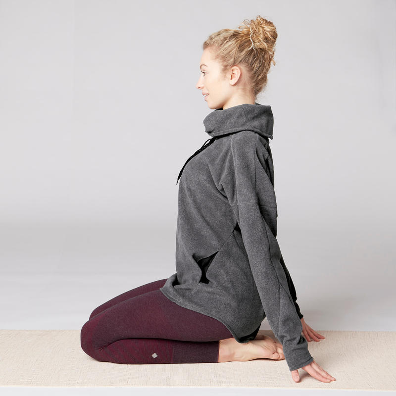 Women's Relaxation Yoga Fleece Sweatshirt - Mottled Grey
