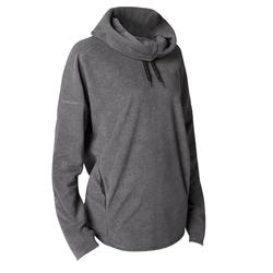 女款高透氣微纖維絨毛放鬆瑜珈汗衫 - 灰色