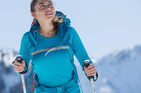 MH150 Women's Long-Sleeve Mountain Hiking T-Shirt - Plum