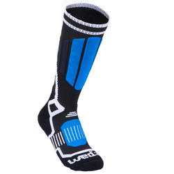 CHILDREN'S SKIING SOCKS 500 BLACK BLUE