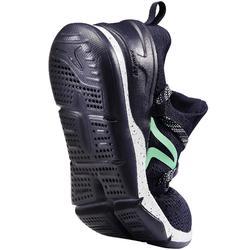 Damessneakers voor sportief wandelen PW 140 blauw / groen